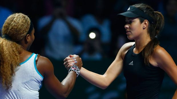 Serena Williams and Ana Ivanovic shake hands after the match.