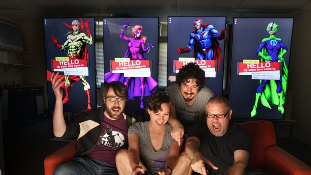 Tin Man Games is based at the Arcade co-working space. (From left) Clinton Shepherd, Kamina Vincent, Ben Kosmina and Ben ...