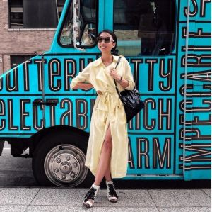 Strategic: A relaxed shot during New York Fashion Week.