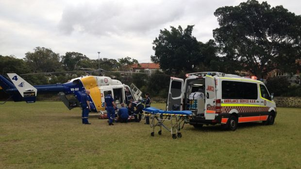 A CareFlight doctor and paramedics treat the boy before flying him to Westmead Children's Hospital.