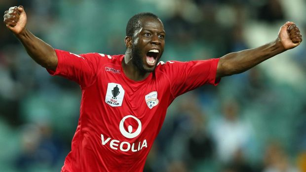 Double trouble: Adelaide United's Bruce Djite.