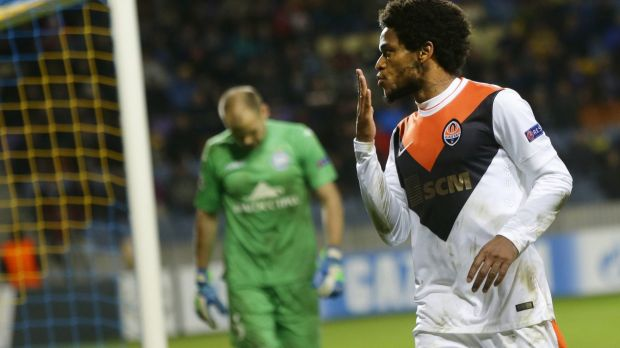 Bunch of five: Shakhtar Donetsk striker Luiz Adriano equalled Lionel Messi's record for most goals scored in a Champions ...