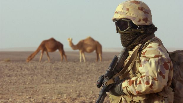 Australian soldiers training in the Middle East.