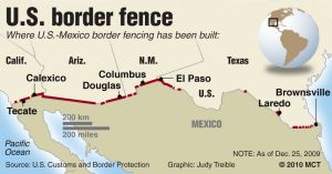 Map of us border with mexico