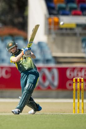 Ellyse Perry in action during the Cricket Australia XI match against the West Indies at Manuka Oval.