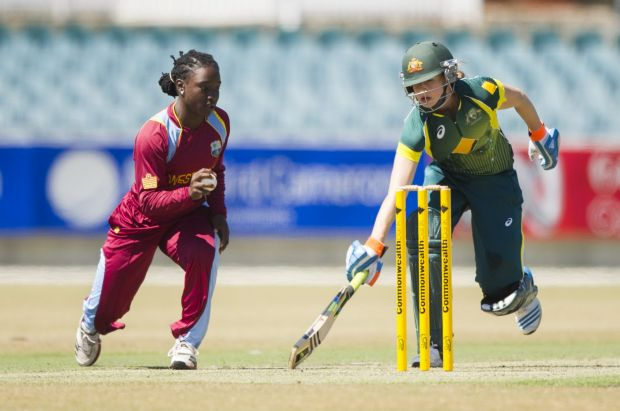 Ellyse Perry in action during the game against the West Indies at Manuka oval.