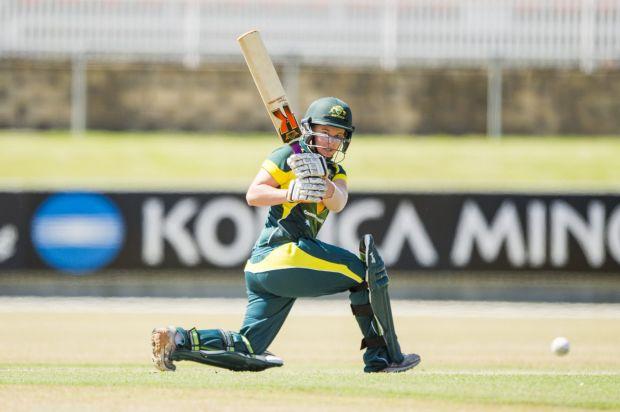 Rhiannon Dick in action during the game against the West Indies at Manuka oval.