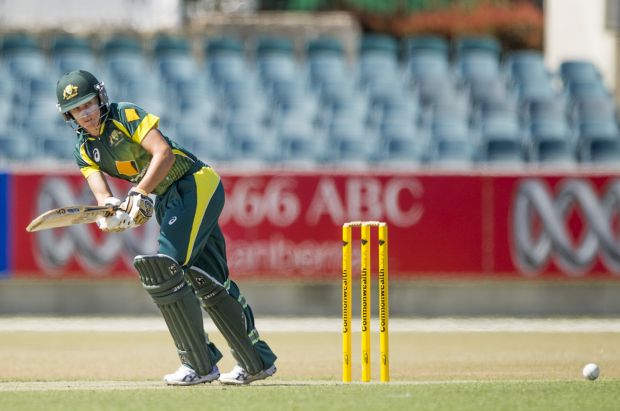 Delissa Kimmince in action during the game against the West Indies at Manuka oval.