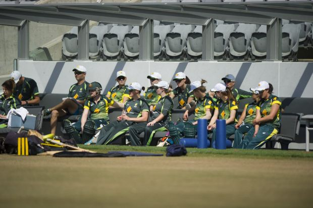 The Cricket Australia Women's XI at Manuka Oval during the game against the West Indies.