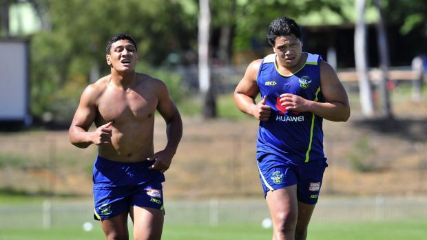 Patrick Mago and Sam Mataora running at Raiders pre-season training.