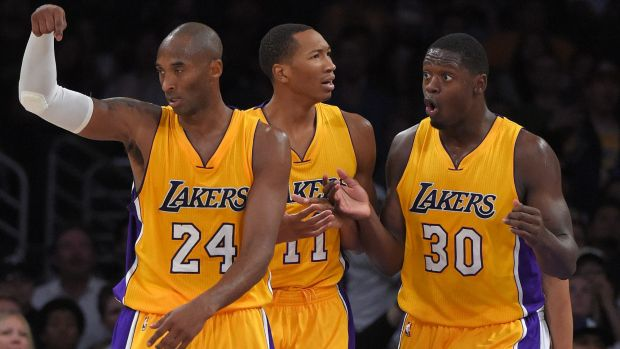 Heading for a fall: Kobe Bryant and the Lakers will struggle to compete in the NBA this season.