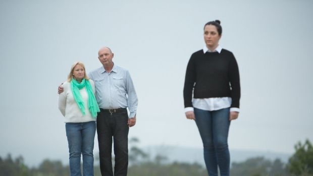 Mourning: Jo and Steve Gibbs with their son Matthew's girlfriend Stephanie Kelly.