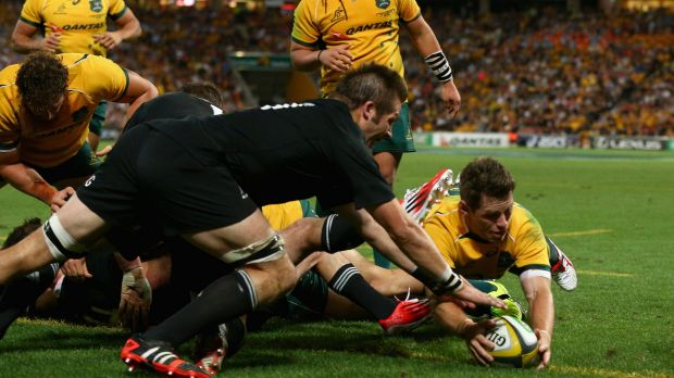 Bernard Foley touches down against the All Blacks last weekend.