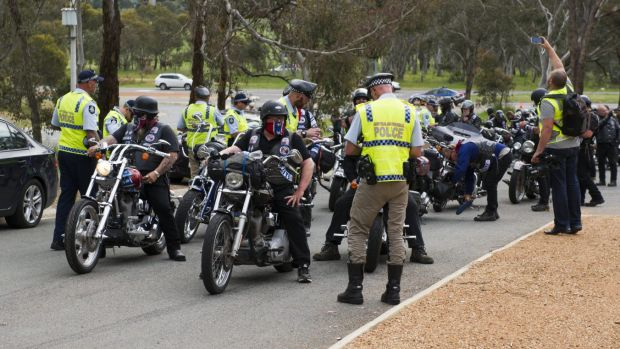Rebels bikies: Perhaps on the way to a pottery class.