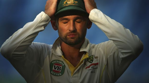 Nathan Lyon feels the heat on day three.