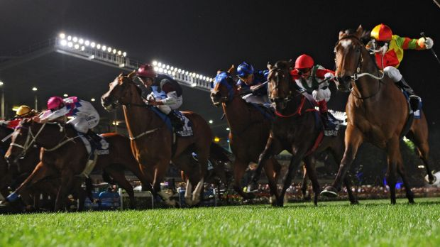 Exciting finish: Lankan Rupee (right) just holds off rivals in a classic end to the Manikato Stakes on Friday night.