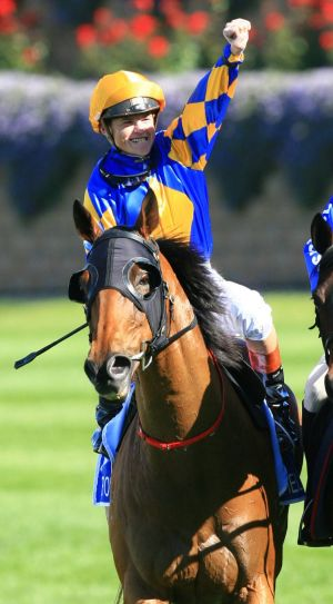 Craig Williams on Fields Of Omagh after winning the Cox Plate in 2006.