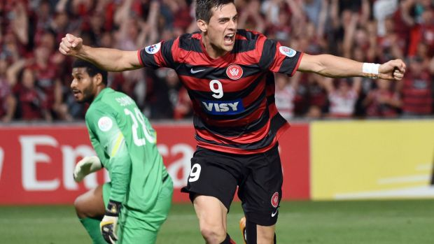 Tie-breaker: Tomi Juric celebrates scoring the only goal of the game.