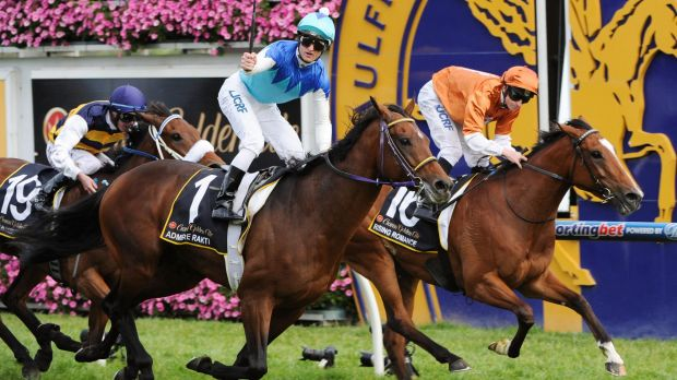 Shaded: Rising Romance (right) in the Caulfield Cup.