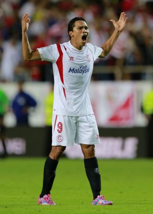 Sevilla's Carlos Bacca celebrates after scoring against Villarreal.