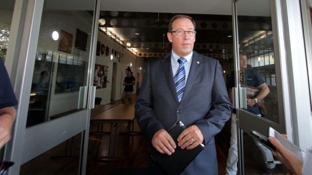 Peter Dowling, leaving an LNP branch meeting last month.