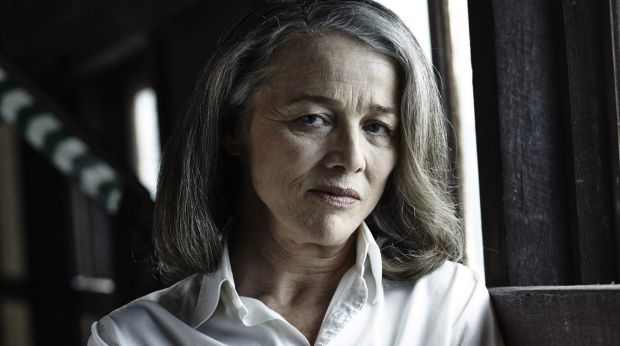 Sarah Peirse as Patricia Highsmith in the play <i>Switzerland</i>.