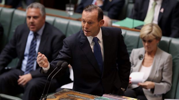 """Mature"": Tony Abbott during question time at Parliament House on Monday."