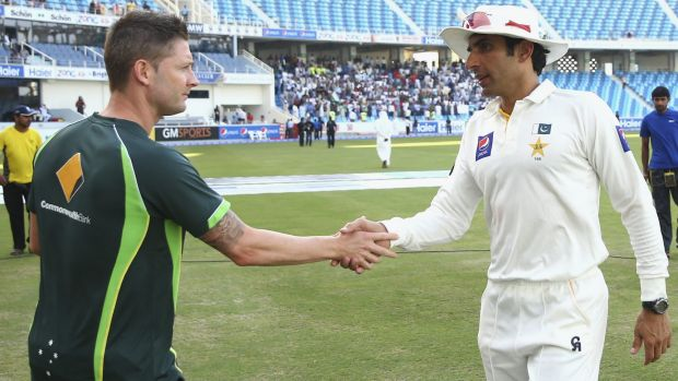 Australian captain Michael Clarke congratulates his Pakistan counterpart, Misbah-ul-Haq, after the game.