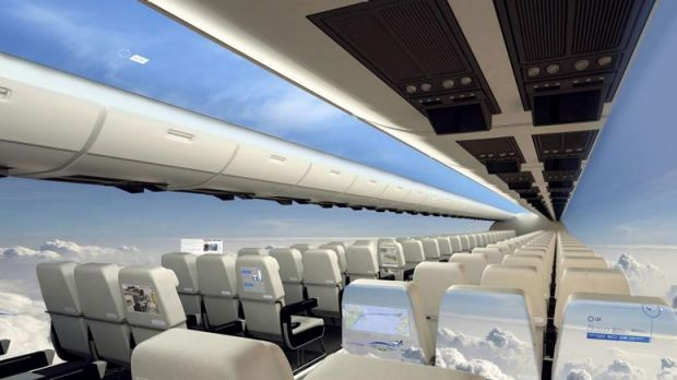 The OLED screens on the aircraft's interior could create a seamless panorama.