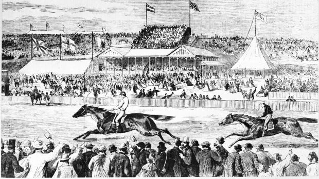 Artist's impression of The Barb winning the Melbourne Cup in 1866.