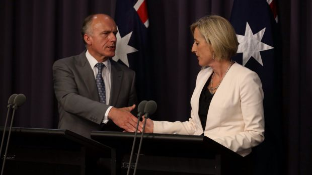 Deal: Employment Minister Eric Abetz and ACT Chief Minister Katy Gallagher agree to a Commonwealth loan of 1 billion for ...