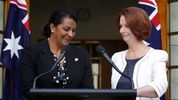 Julia Gillard announces her endorsement of Nova Peris as a Senate candidate in January last year.