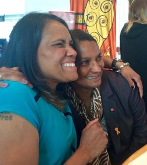 Cathy Freeman and Nova Peris at a women's lunch on October 17 in an image posted on the Cathy Freeman Foundation ...