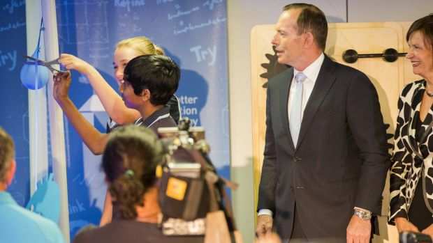 NEW FACILITY: Prime Minister Tony Abbott opens the Ian Potter Foundation Technology Learning Centre in Deakin.