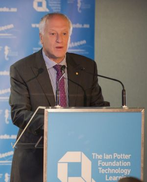 Questacon advisory council chairman Leon Kempler speaks at the opening of the Ian Potter Foundation Technology Centre.