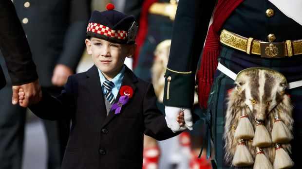Marcus Cirillo, 5, attends the funeral procession for his father, Corporal Nathan Cirillo in Hamilton, Ontario.