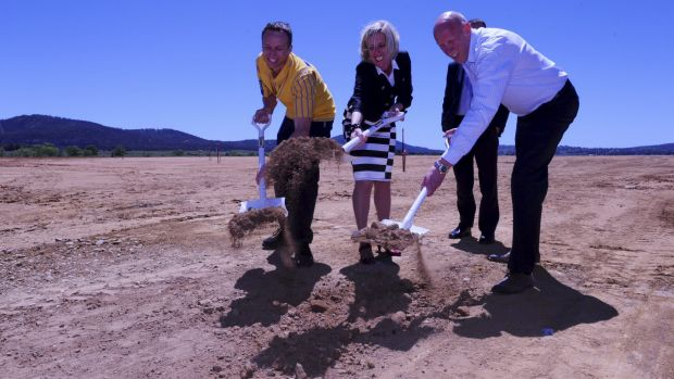 Breaking ground: Canberra store manager Mark Mitchinson, left, Chief Minister Katy Gallagher and Ikea Australia country ...