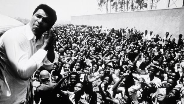 Muhammad Ali with adoring fans in Zaire before the fight.