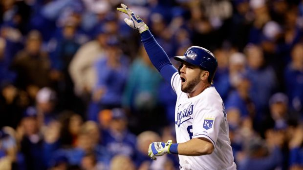 Mike Moustakas sparked the second inning burst with a sharply hit double down the right field line.