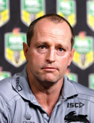 Words of encouragement: Rabbitohs coach Michael Maguire.