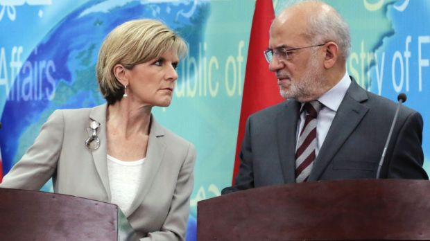 Allies: Foreign Minister Julie Bishop and her Iraqi counterpart, Ibrahim al-Jaafari confer at a news conference in Baghdad.