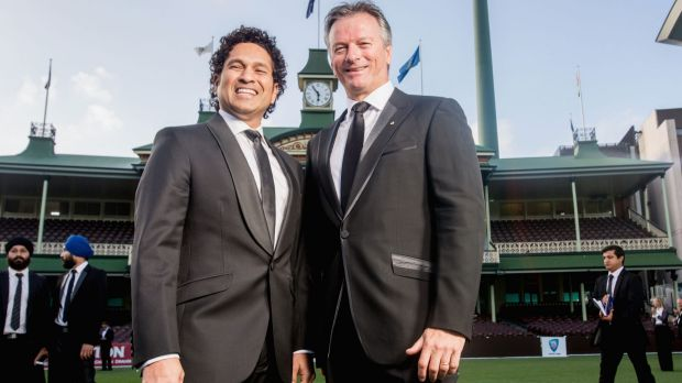 Two of the greats: Sachin Tendulkar and Steve Waugh at the Bradman Foundation dinner on Wednesday night.