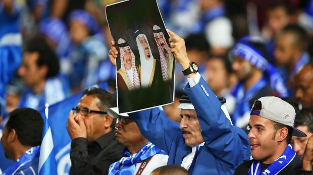 Al-Hilal fans show their colours during the first leg of the Asian Champions League final  against the Wanderers.