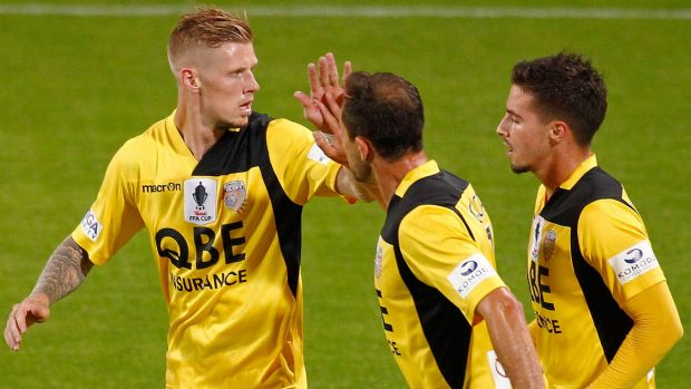 Calm, cool and collecting: Andy Keogh of the Glory celebrates after scoring.