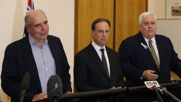"Environment Minister Greg Hunt says the Climate Change Authority, headed by Bernie Fraser (left), ""might as well do ..."