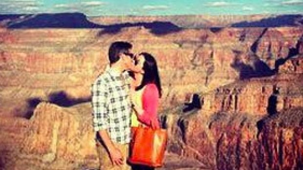 Brittany Maynard with her husband Dan Diaz at the Grand Canyon.