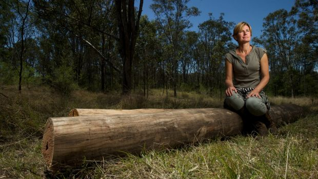 Landcare co-ordinator Lisa Harrold helped arrange the airlift of logs into the Mulgoa Nature Reserve to create a new ...