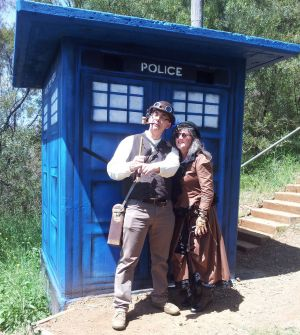 Jonathan and Jennie Garland who were married outside of the Red Hill TARDIS on Saturday.