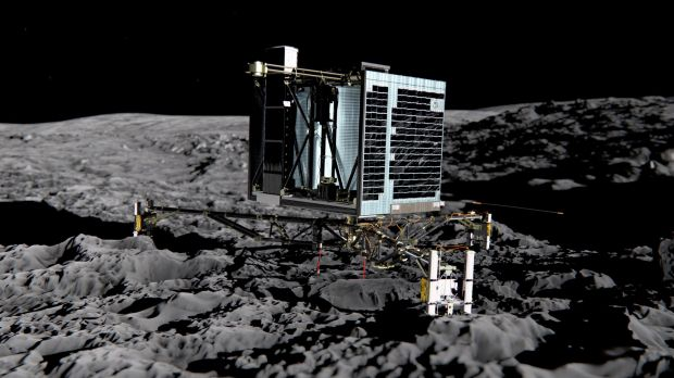 An artist impression of the Rosetta lander Philae on the surface of Comet Churyumov-Gerasimenko.
