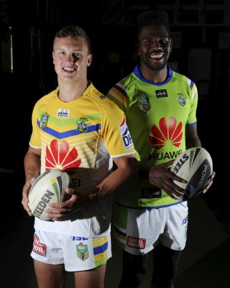 Model players: Canberra Raiders players Jack Wighton, left and Edrick Lee show off next season's home and away jerseys.